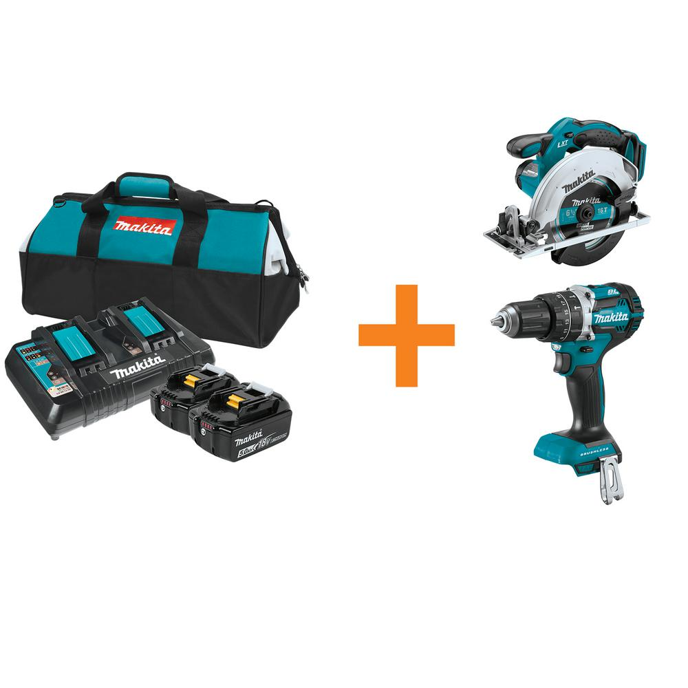 Makita 18 Volt Lxt Lithium Ion Battery And Dual Port Charger Starter Pack With 18 Volt Circ Saw