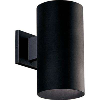 1-Light Black Integrated LED Outdoor Wall Mount Cylinder Light