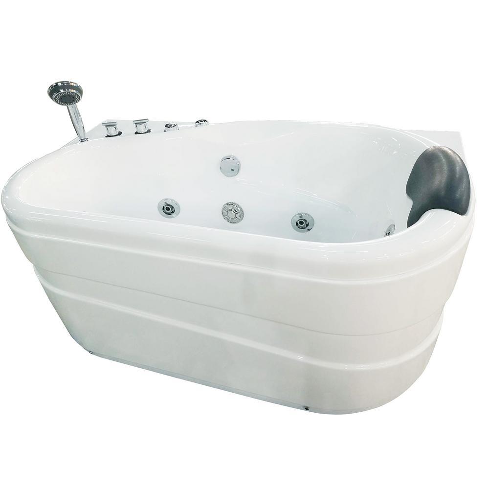 EAGO AM175-L 57 in. Acrylic Flatbottom Whirlpool Bathtub in White ...