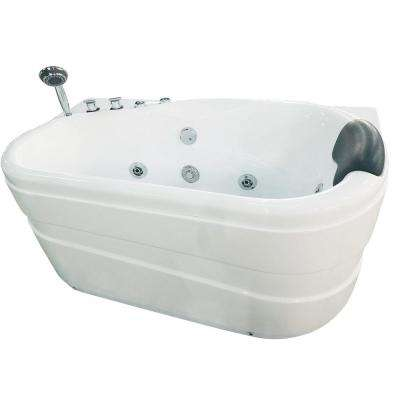AM175-L 57 in. Acrylic Flatbottom Whirlpool Bathtub in White