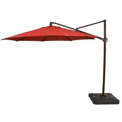11 ft. Aluminum Cantilever Tilt Patio Umbrella in CushionGuard Ruby with Black Pole