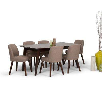 Emery Mid Century 7 Piece Fawn Brown Dining Set