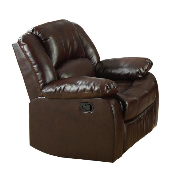 Furniture Of America Barton Dark Brown Bonded Leather Match Recliner Chair