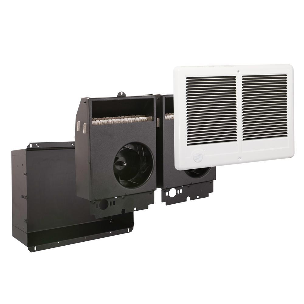 Com-Pak Twin 3000-Watt 240-Volt 10236-BTU Fan Forced In- Wall Electric Heater in White