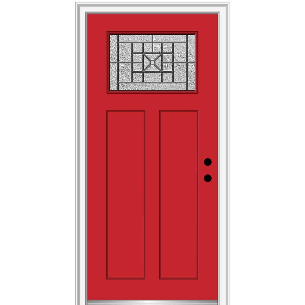 MMI Door 32 in. x 80 in. Courtyard Left-Hand 1-Lite Decorative Craftsman Painted Fiberglass Prehung Front Door, 4-9/16 in. Frame, Red Saffron/ was $1444.56 now $939.0 (35.0% off)