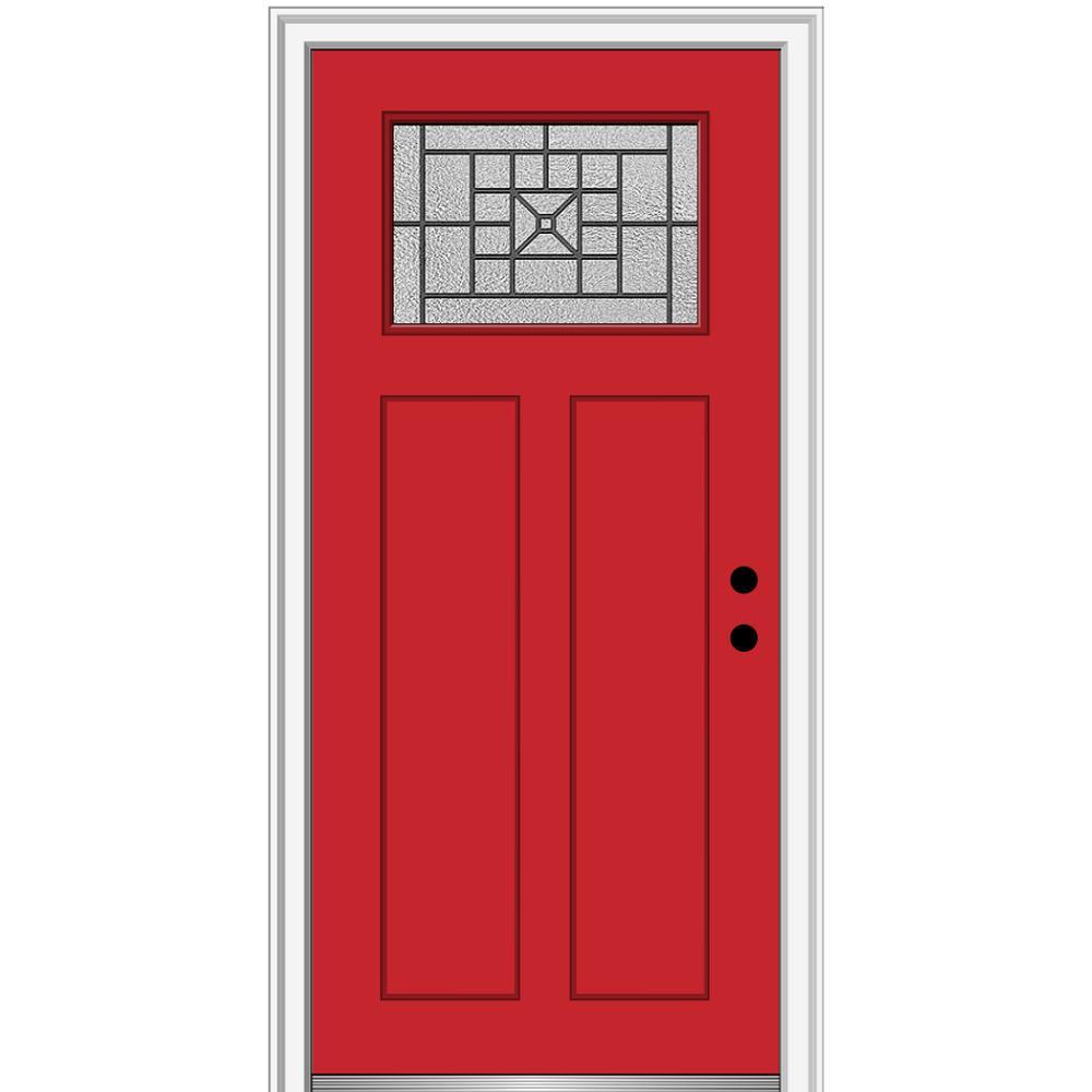 MMI Door 36 in. x 80 in. Courtyard Left-Hand 1-Lite Decorative Craftsman Painted Fiberglass Prehung Front Door, 6-9/16 in. Frame, Red Saffron/ was $1527.99 now $994.0 (35.0% off)
