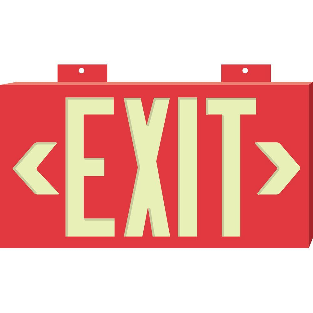 Brady 8-1/4 in. x 15-1/4 in. Glow-in-the-Dark Plastic Exit Sign with Red background