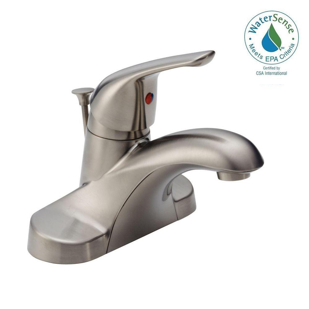 Delta Foundations 4 in. Centerset Single-Handle Bathroom Faucet with Metal Drain Assembly in Stainless
