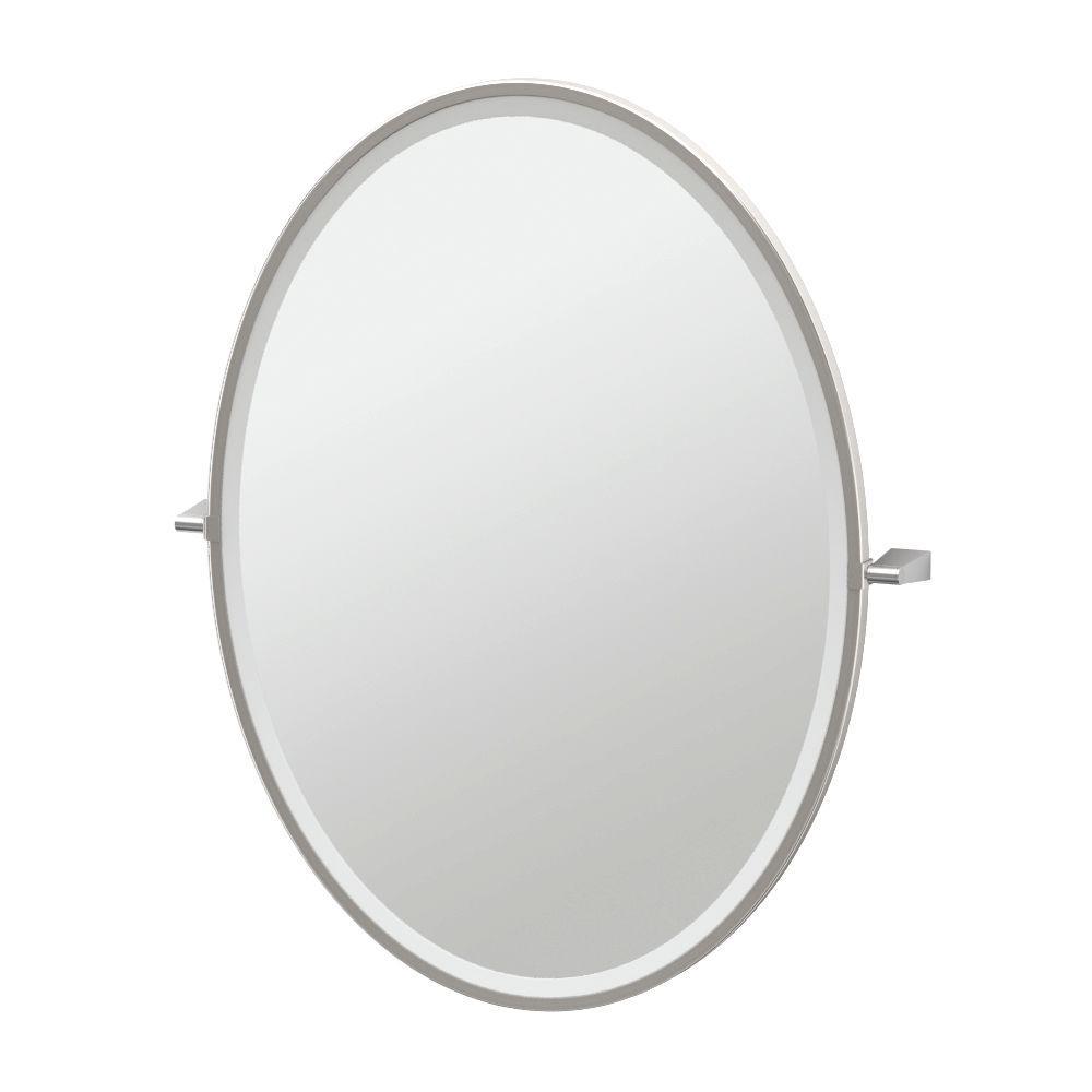 Bleu 28 in. x 33 in. Framed Single Large Oval Mirror in Satin Nickel