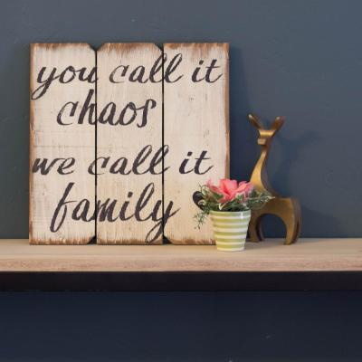 """16 in. x 16 in. """"You Call It Chaus We Call It Family"""" by Boulder Innovations Printed Wood Wall Art"""