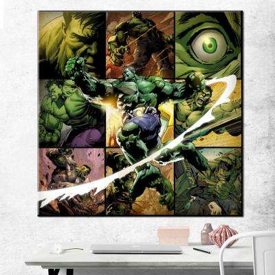 33 in. x 33 in. Hulk Montage Gallery Wrapped Canvas