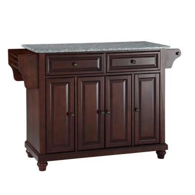 Lafayette Black Kitchen Island with Granite Top