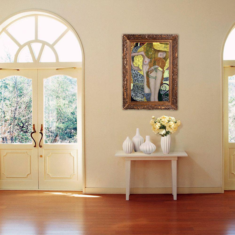 LA PASTICHE 46 in. x 34 in. Water Serpents I (Luxury Line) with Burgeon Gold Frame by Gustav Klimt Framed Wall Art, Multi-Colored was $1501.0 now $704.64 (53.0% off)