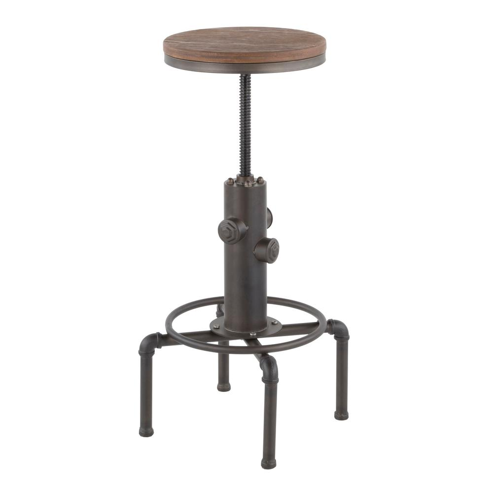 Pleasing Lumisource Hydra Adjustable Industrial Antique And Brown Bar Gmtry Best Dining Table And Chair Ideas Images Gmtryco