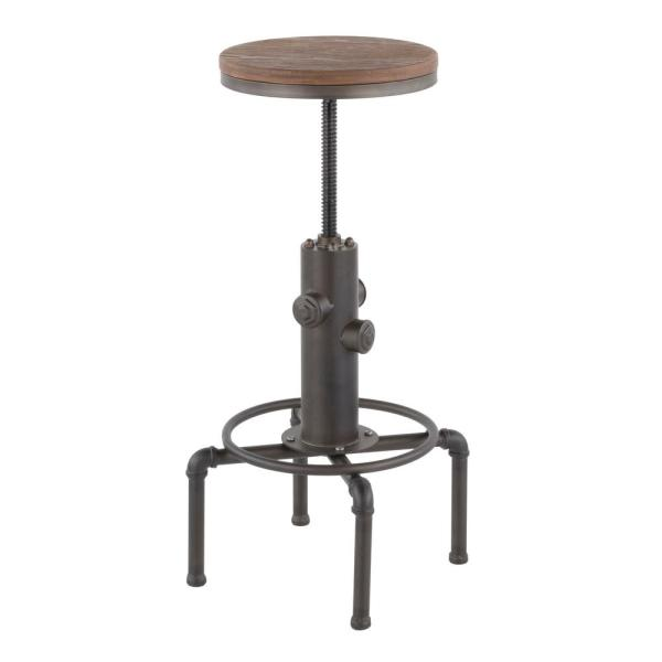 Hydra Adjustable Industrial Antique And Brown Bar Stool