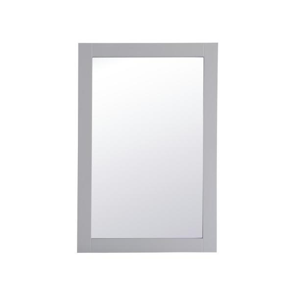 Medium Rectangle Grey Contemporary Mirror (36 in. H x 24 in. W)