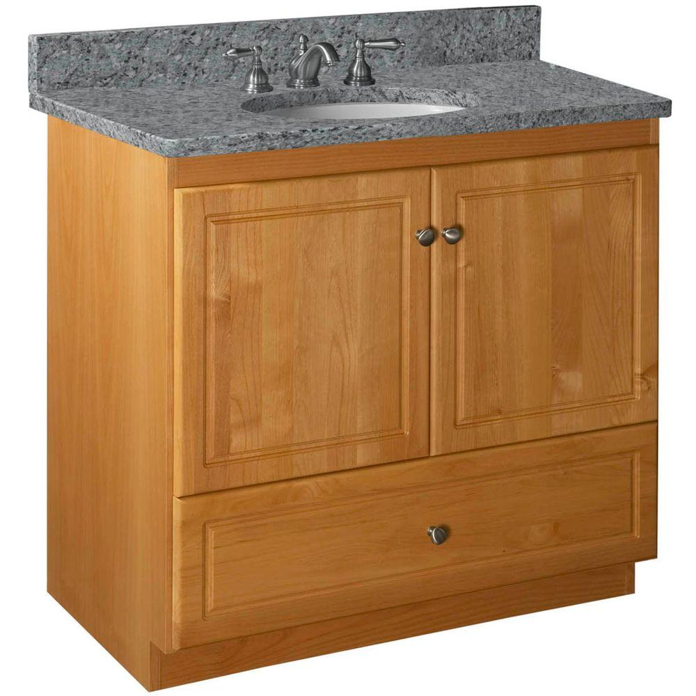 Ultraline 36 in. W x 21 in. D x 34.5 in. H Vanity with No Side Drawers Cabinet Only in Natural Alder