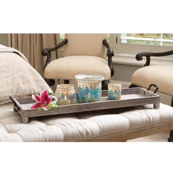 Long Decorative Tray In Rustic And Ashwood