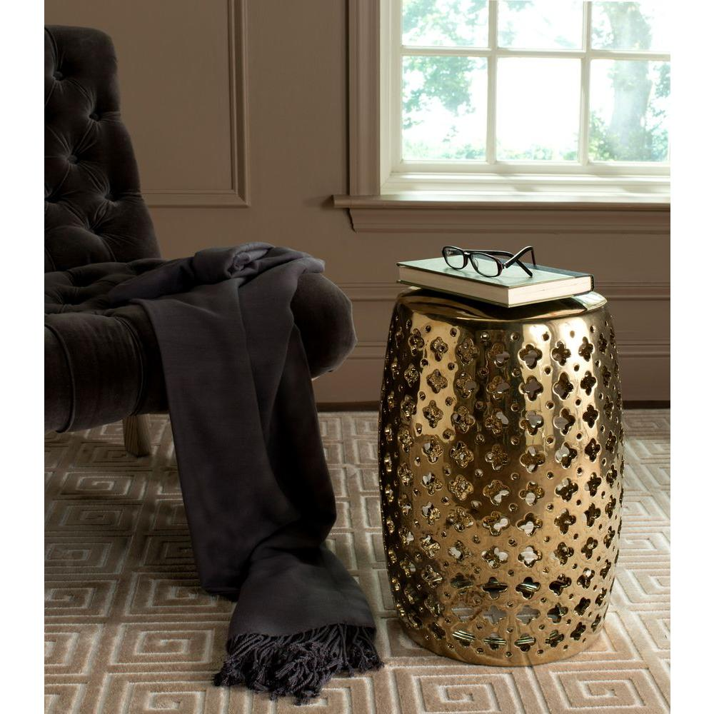 Safavieh Lacey Plated Gold Patio Stool Acs4531f The Home
