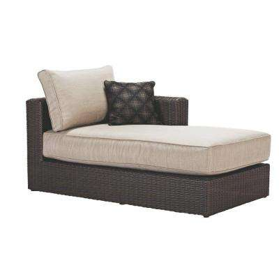 Naples All-Weather Dark Wicker Patio Left Arm Sectional Chaise with Putty Cushions