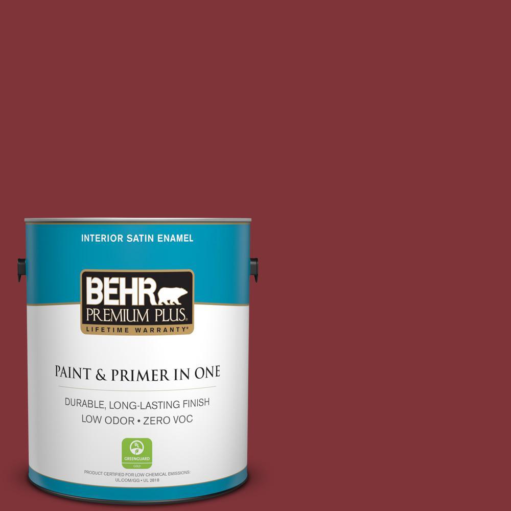 BEHR Premium Plus 1-gal. #S-H-160 Sly Fox Zero VOC Satin Enamel Interior Paint