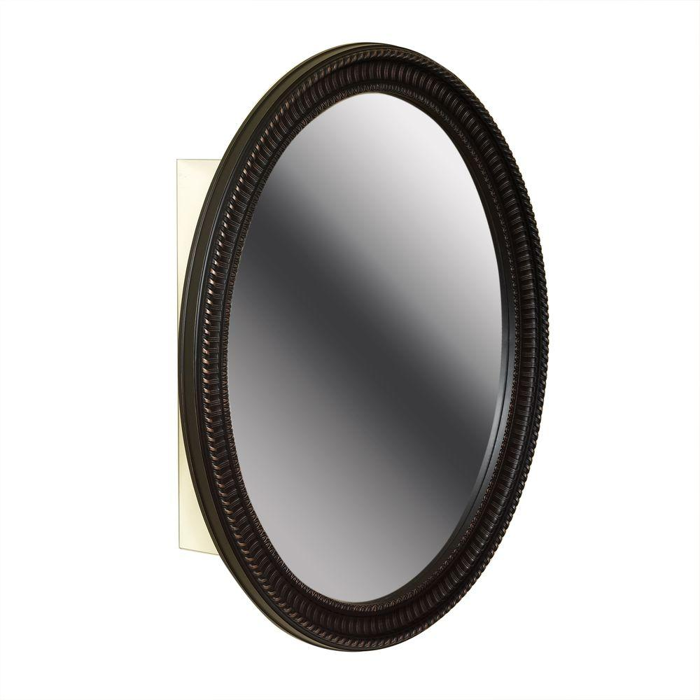 Zenna Home 25 in. W x 32 in. H Zenith Oval Mirror Surface Mount Medicine Cabinet in Oil Rubbed Bronze