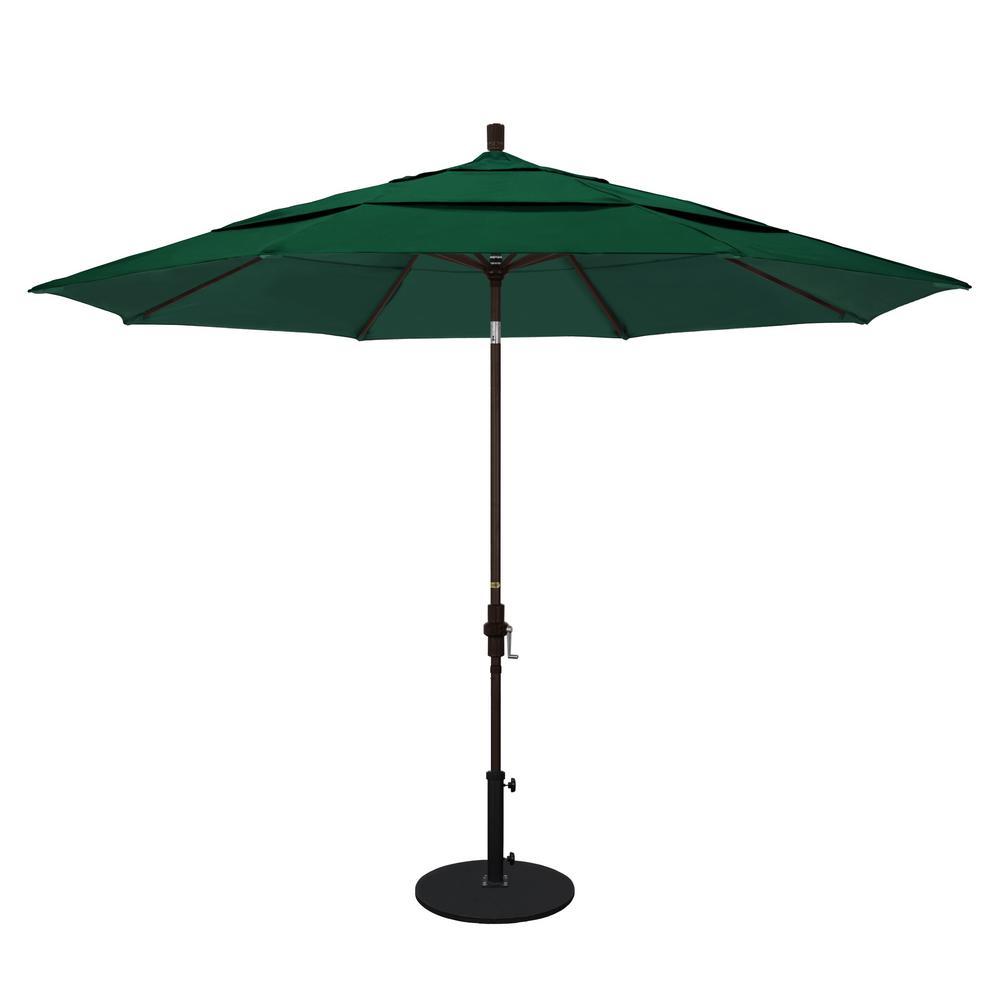 11 ft. Bronze Aluminum Market Patio Umbrella with Crank Lift  in Forest Green Sunbrella