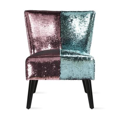 Mazzy Teal and Pink Sequin Upholstered Accent Chair