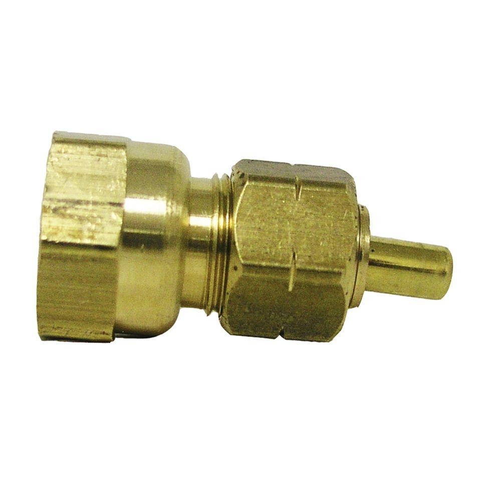 """Package of 4 brass 3//8/"""" NPT x 1//2/"""" OD plastic or metal hose compression fittings"""