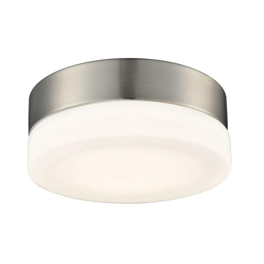 Holmby 1 light satin nickel with opal glass small round flush mount