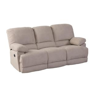Lea Beige Chenille Fabric Power Reclining Sofa with USB Port