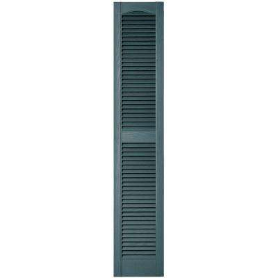 12 in. x 64 in. Louvered Vinyl Exterior Shutters Pair in #004 Wedgewood Blue
