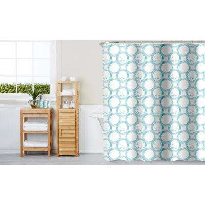 Paradise Circles Aqua 16-Piece Ceramic Accessories and Shower Curtain Set