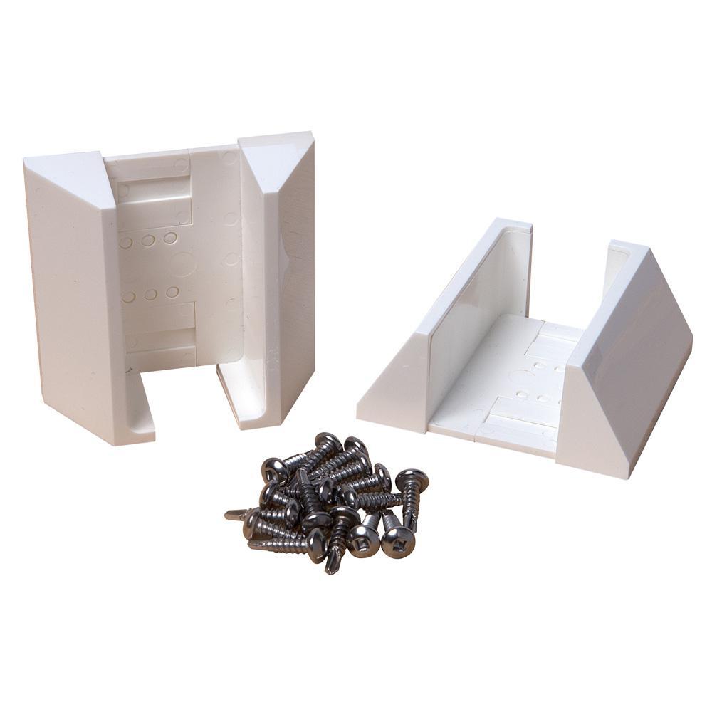 White Vinyl Fence Adjustable Bracket Kit (2-Pack)