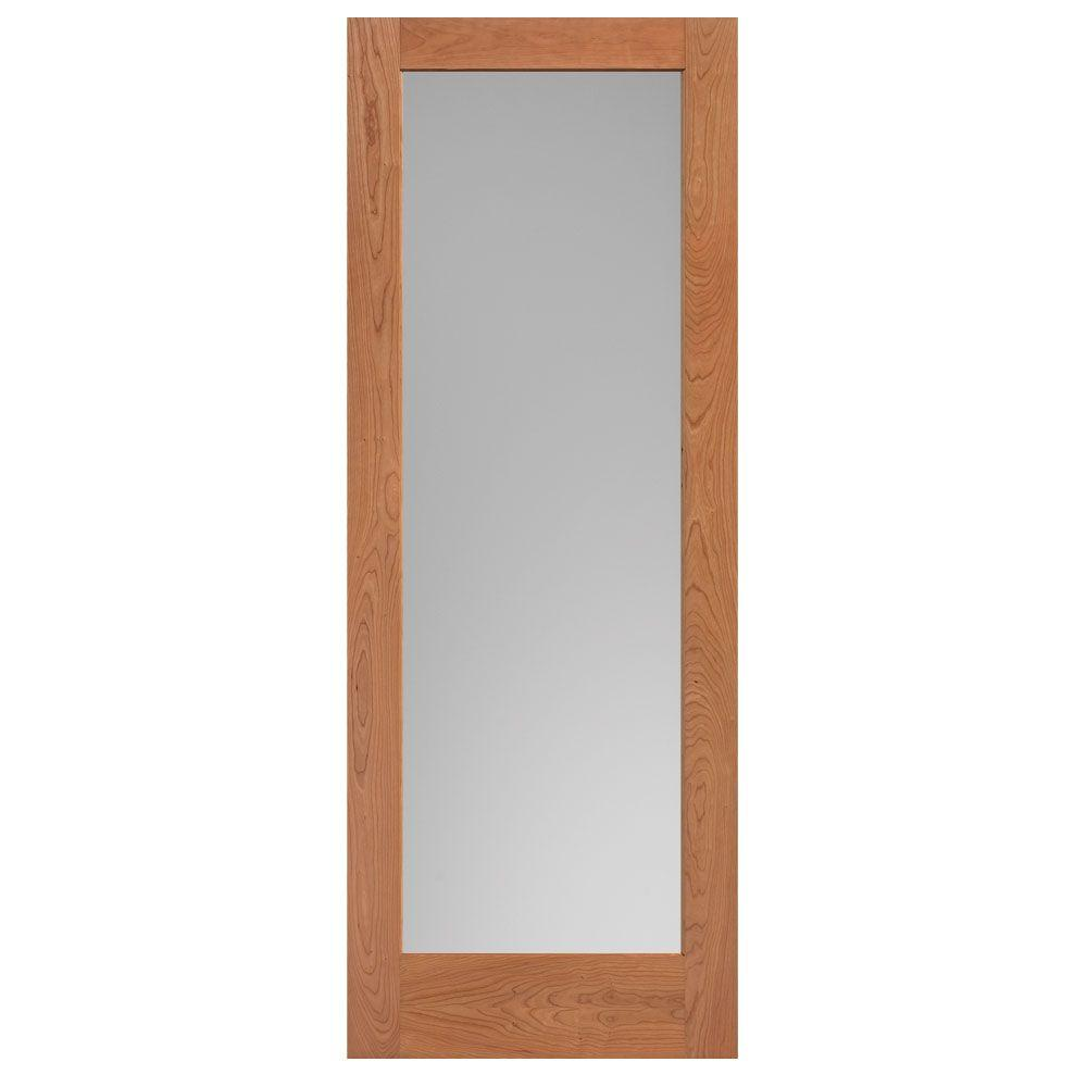 36 in. x 84 in. Cherry Veneer 1-Lite Solid Wood Interior