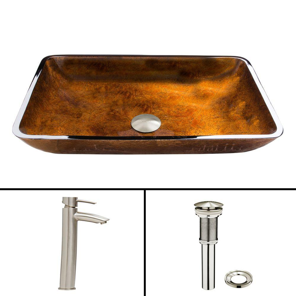 VIGO Glass Vessel Sink in Russet and Shadow Faucet Set in Brushed ...