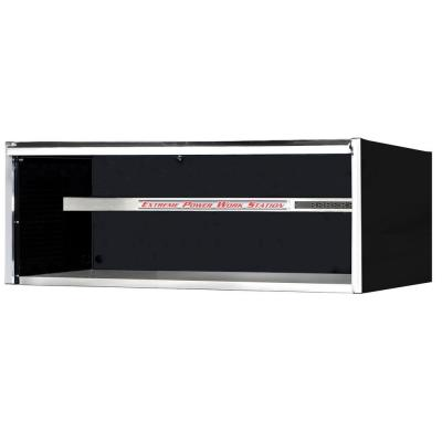 72 in. Power Workstation Professional Hutch with Stainless Steel Shelf and Work Surface in Black