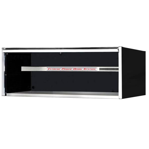 Extreme Tools 72 in. Power Workstation Professional Hutch with Stainless Steel Shelf and Work Surface in Black