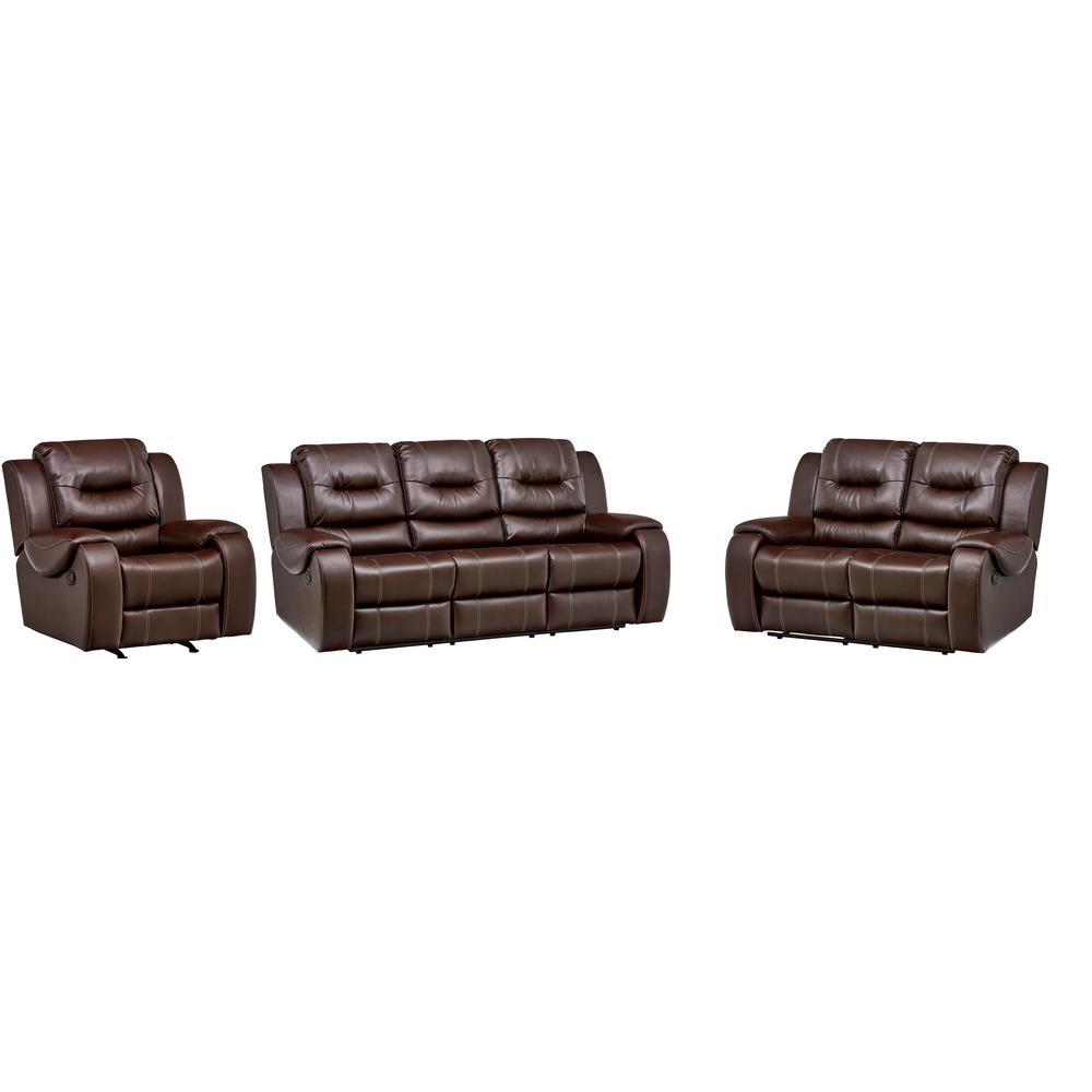 Cambridge Clark 3-Piece Umber Sofa, Loveseat, Recliner Living Room ...