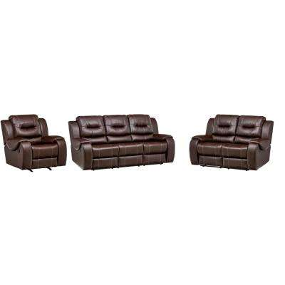 Clark 3-Piece Umber Sofa, Loveseat, Recliner Living Room Set