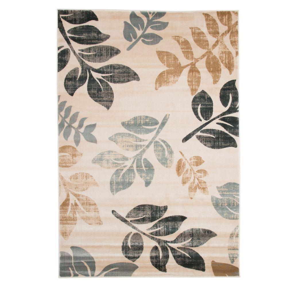 Opus Falling Leaves Cream 8 ft. x 10 ft. Area Rug