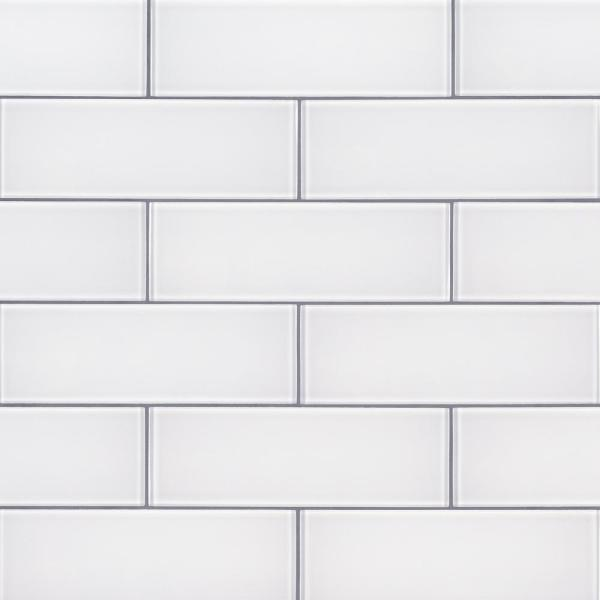 Ice 3 in. x 9 in. x 8mm Glossy Glass White Subway Tile (3.8 sq. ft. / case)