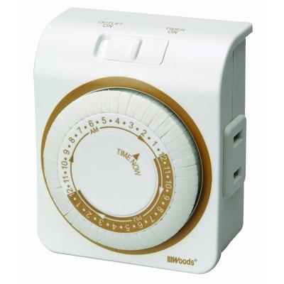 15-Amp 24-Hour Indoor Plug-In Dual-Outlet Mechanical Timer, White