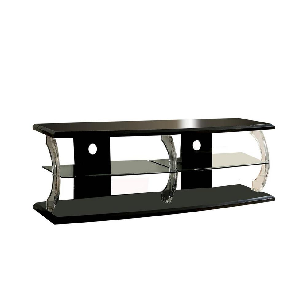 Benjara 18 in. W Black and Clear Wooden TV Stand with Acrylic Posts and LED Lighting Fits TV's up to 60 in -  Benzara, BM181321