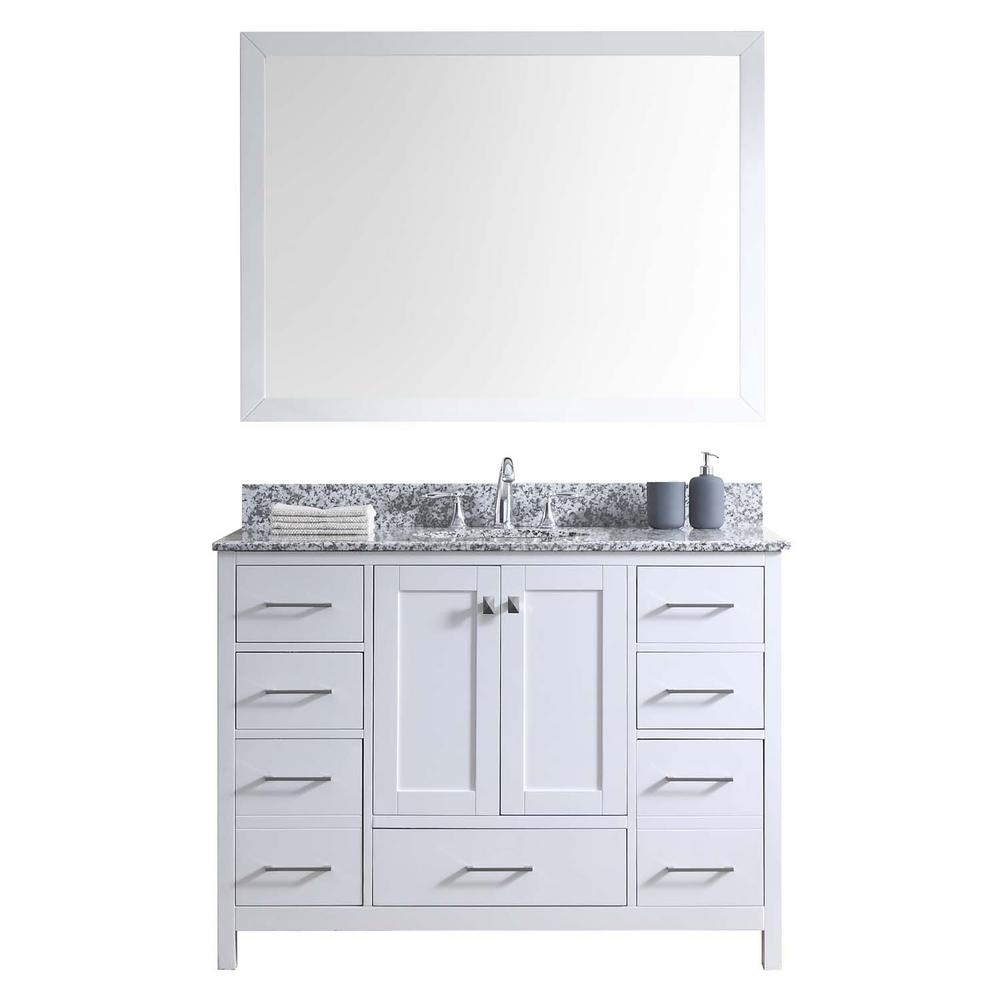 Virtu USA Caroline Madison 49 in. W Bath Vanity in White with Granite Vanity Top in Arctic White with Round Basin and Mirror