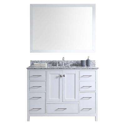 Caroline Madison 48 in. Vanity in White with Granite Vanity Top in Arctic White with White Round Basin and Mirror