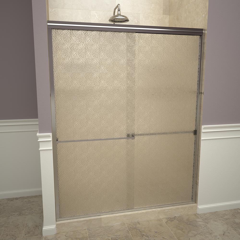 Redi Slide 1000 Series 47 In W X 70 H Semi Frameless Sliding Shower Doors Polished Chrome With Towel Bar And Obscure Gl