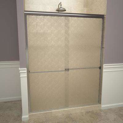 1000 Series 60 in. W x 70 in. H Semi-Frameless Sliding Shower Doors in Polished Chrome with Towel Bar and Obscure Glass