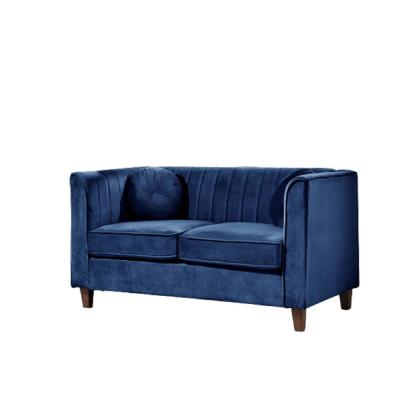 Lowery Kitts 55 in. DARK BLUE Velvet 2-Seater Chesterfield Loveseat with Square Arms
