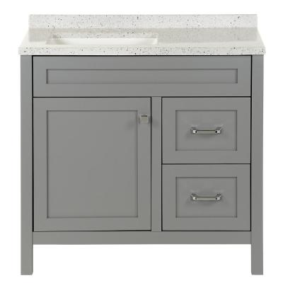 Maywell 36.5 in. W x 18.75 in. D Vanity in Sterling Gray with Solid Surface Vanity Top in Silver Ash with White Sink